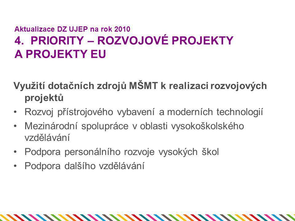 Využití dotačních zdrojů MŠMT k realizaci rozvojových projektů •Rozvoj přístrojového vybavení a moderních technologií •Mezinárodní spolupráce v oblast