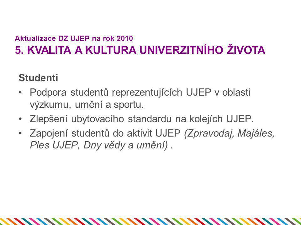 Studenti •Podpora studentů reprezentujících UJEP v oblasti výzkumu, umění a sportu. •Zlepšení ubytovacího standardu na kolejích UJEP. •Zapojení studen