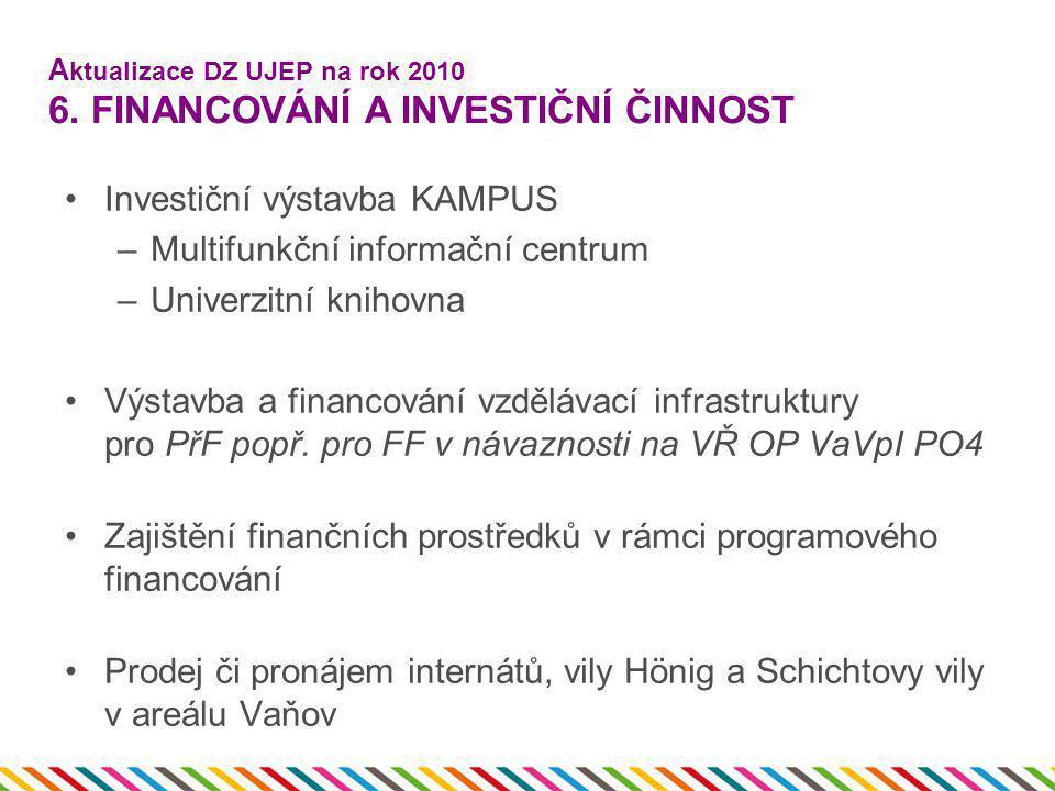 A ktualizace DZ UJEP na rok 2010 6. FINANCOVÁNÍ A INVESTIČNÍ ČINNOST •Investiční výstavba KAMPUS –Multifunkční informační centrum –Univerzitní knihovn