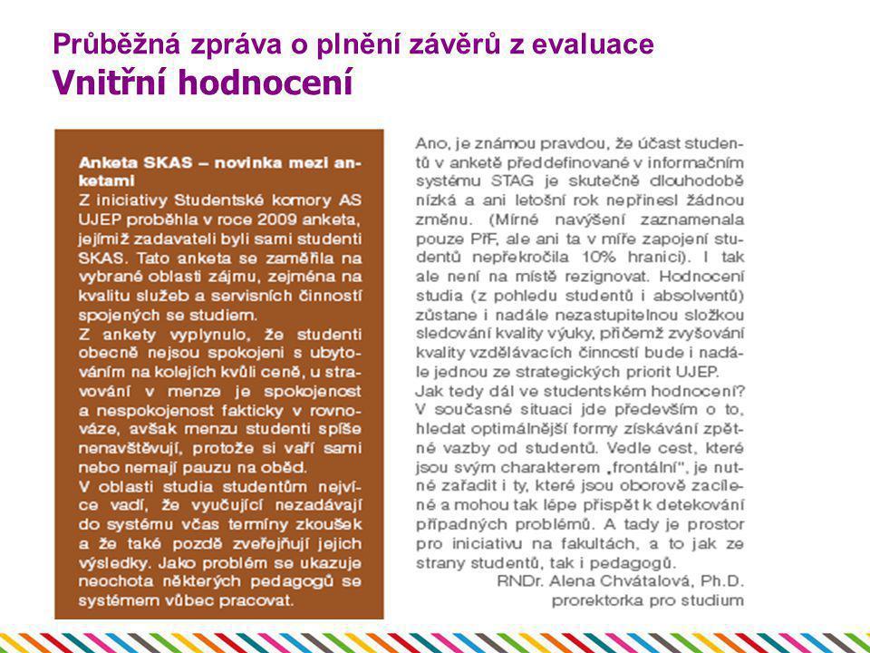 Průběžná zpráva o plnění závěrů z evaluace Vnitřní hodnocení