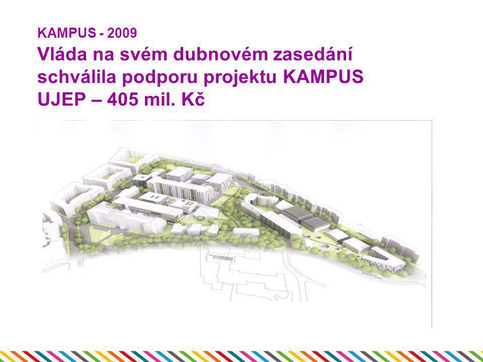 KAMPUS - 2009 Vláda na svém dubnovém zasedání schválila podporu projektu KAMPUS UJEP – 405 mil. Kč