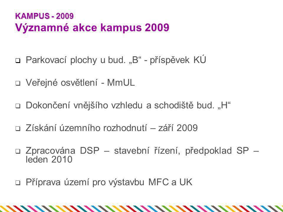 """KAMPUS - 2009 KAMPUS - 2009 Významné akce kampus 2009  Parkovací plochy u bud. """"B"""" - příspěvek KÚ  Veřejné osvětlení - MmUL  Dokončení vnějšího vzh"""