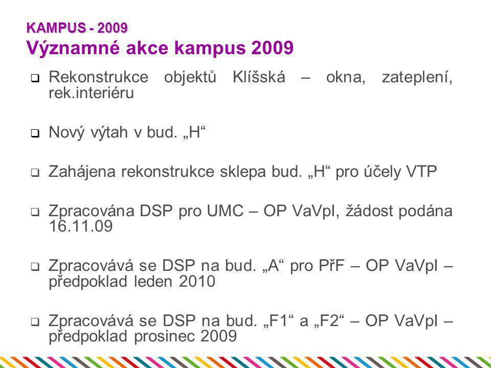 """KAMPUS - 2009 KAMPUS - 2009 Významné akce kampus 2009  Rekonstrukce objektů Klíšská – okna, zateplení, rek.interiéru  Nový výtah v bud. """"H""""  Zaháje"""