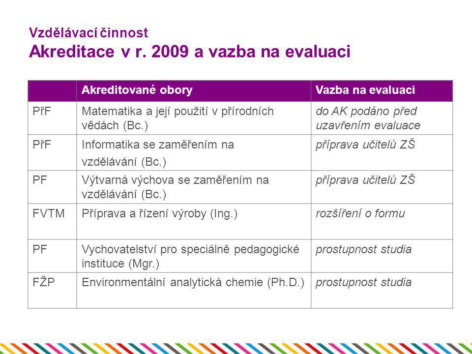 Vzdělávací činnost Akreditace v r. 2009 a vazba na evaluaci Akreditované oboryVazba na evaluaci PřFMatematika a její použití v přírodních vědách (Bc.)