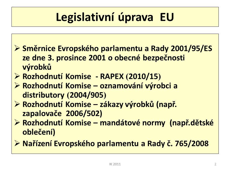 2 Legislativní úprava EU  Směrnice Evropského parlamentu a Rady 2001/95/ES ze dne 3. prosince 2001 o obecné bezpečnosti výrobků  Rozhodnutí Komise -
