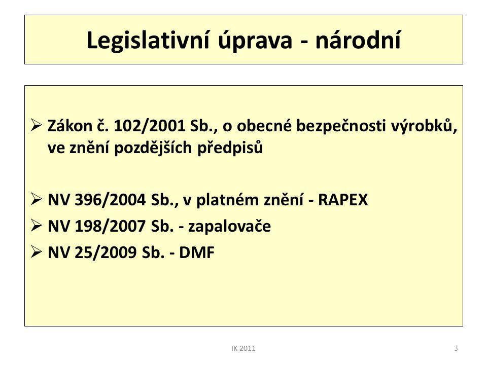 3 Legislativní úprava - národní  Zákon č. 102/2001 Sb., o obecné bezpečnosti výrobků, ve znění pozdějších předpisů  NV 396/2004 Sb., v platném znění