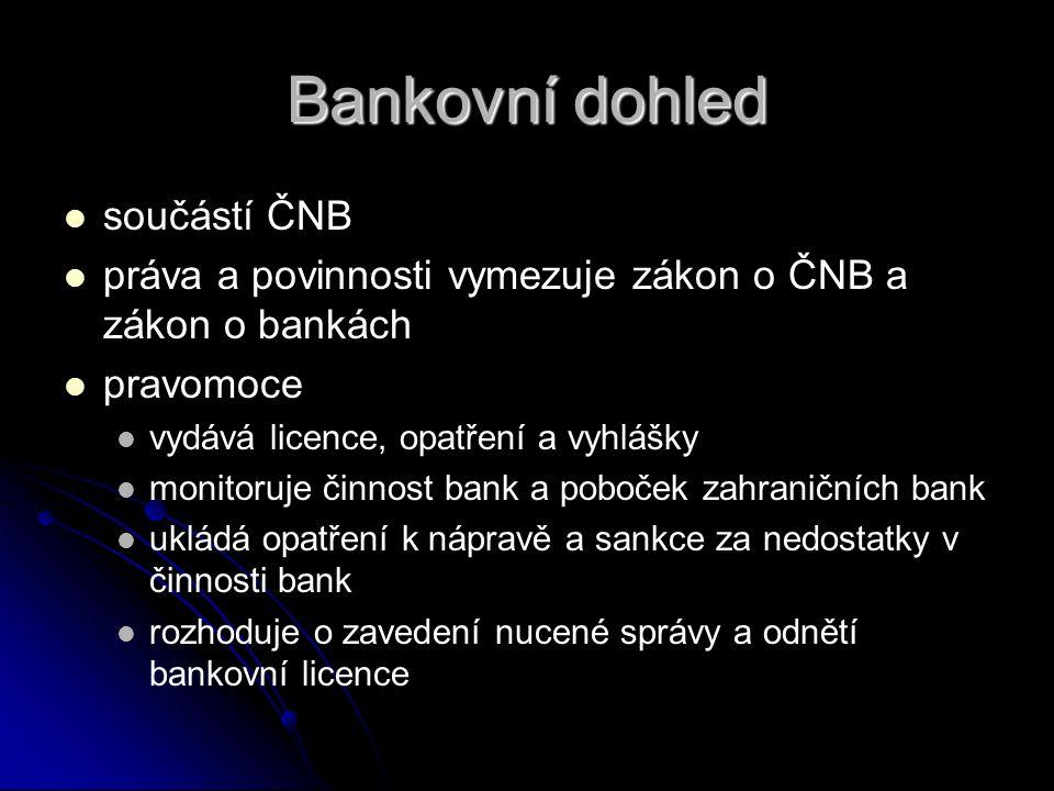 Bankovní dohled   součástí ČNB   práva a povinnosti vymezuje zákon o ČNB a zákon o bankách   pravomoce   vydává licence, opatření a vyhlášky 