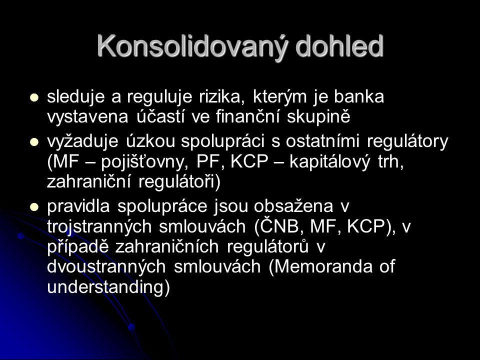 Konsolidovaný dohled   sleduje a reguluje rizika, kterým je banka vystavena účastí ve finanční skupině   vyžaduje úzkou spolupráci s ostatními reg