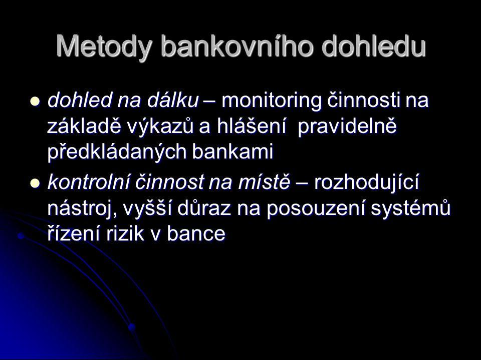 Metody bankovního dohledu  dohled na dálku – monitoring činnosti na základě výkazů a hlášení pravidelně předkládaných bankami  kontrolní činnost na