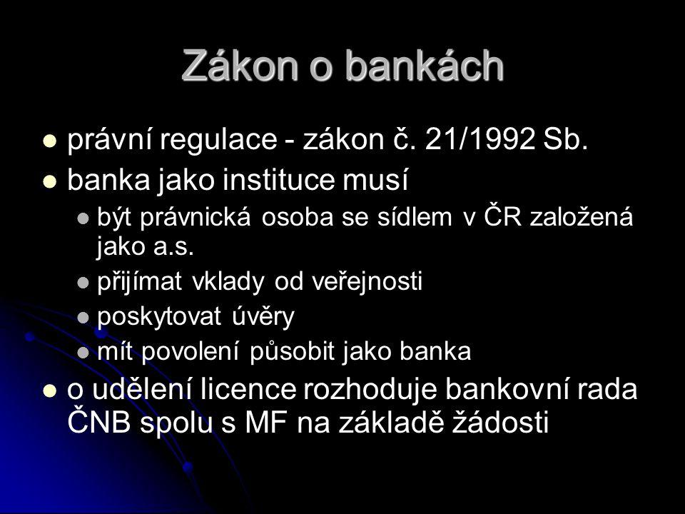Zákon o bankách   právní regulace - zákon č. 21/1992 Sb.   banka jako instituce musí   být právnická osoba se sídlem v ČR založená jako a.s.  