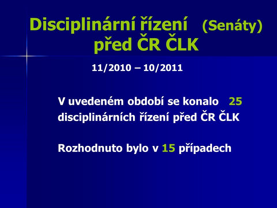 Disciplinární řízení (Senáty) před ČR ČLK V uvedeném období se konalo 25 disciplinárních řízení před ČR ČLK Rozhodnuto bylo v 15 případech 11/2010 – 1