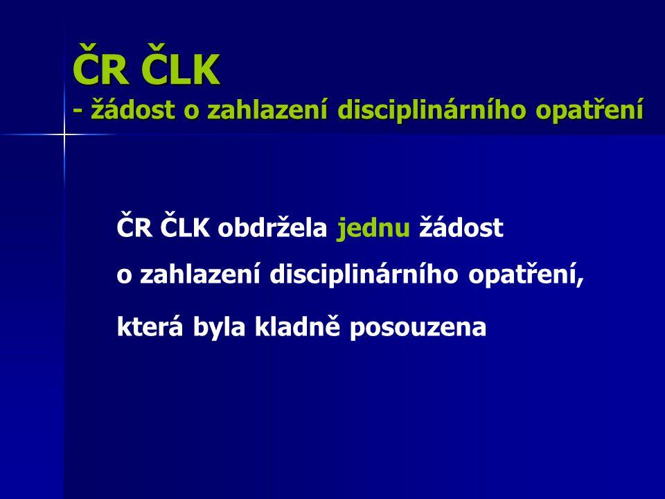 ČR ČLK - žádost o zahlazení disciplinárního opatření ČR ČLK obdržela jednu žádost o zahlazení disciplinárního opatření, která byla kladně posouzena
