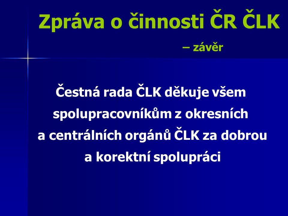 Zpráva o činnosti ČR ČLK – závěr Čestná rada ČLK děkuje všem spolupracovníkům z okresních a centrálních orgánů ČLK za dobrou a korektní spolupráci