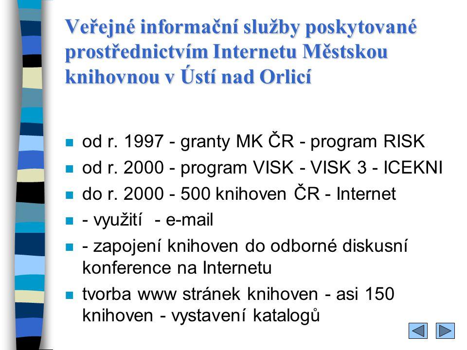 Veřejné informační služby poskytované prostřednictvím Internetu Městskou knihovnou v Ústí nad Orlicí n využívání souborných elektronických katalogů (SKAT, Caslin, MVS )SKATCaslinMVS n VISK 3 - ICEKNI - MěK veřejně přístupná místa s kvalifikovanou obsluhou, vybavená informačními technologiemi - poskytují rovné podmínky přístupu k informačním zdrojům - podporují celoživotní vzdělávání občanů - zpřístupňují informace z veřejné správy