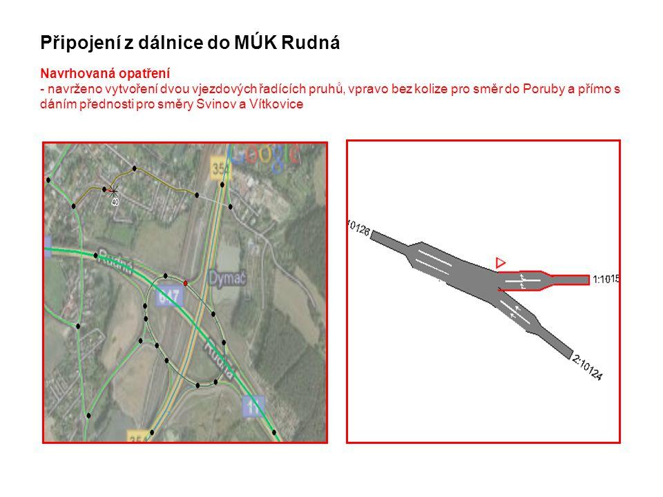 Připojení z dálnice do MÚK Rudná Navrhovaná opatření - navrženo vytvoření dvou vjezdových řadících pruhů, vpravo bez kolize pro směr do Poruby a přímo