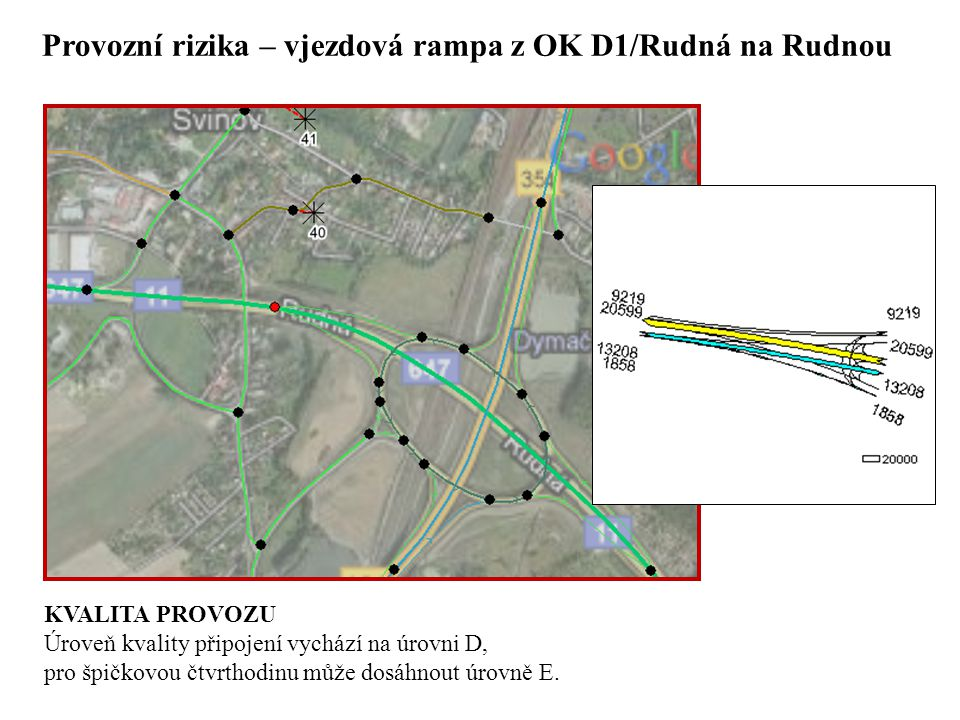 Provozní rizika – vjezdová rampa z OK D1/Rudná na Rudnou KVALITA PROVOZU Úroveň kvality připojení vychází na úrovni D, pro špičkovou čtvrthodinu může