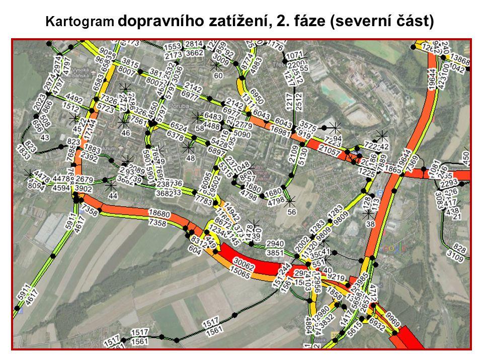 Kartogram dopravního zatížení, 2. fáze (severní část)