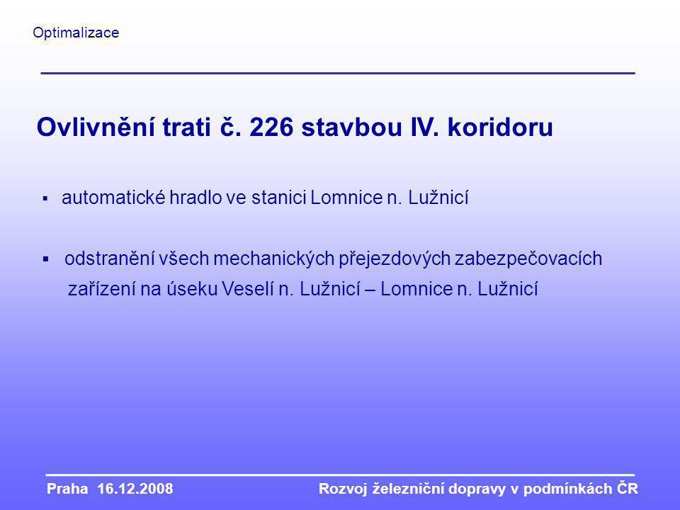 Praha 16.12.2008Rozvoj železniční dopravy v podmínkách ČR Optimalizace  automatické hradlo ve stanici Lomnice n.