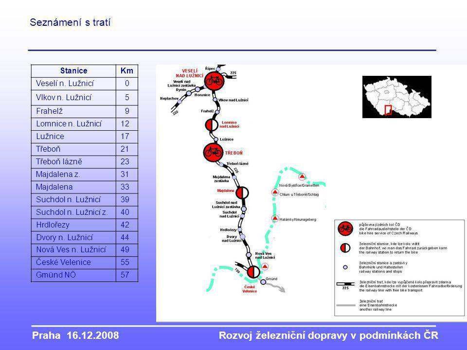 Praha 16.12.2008Rozvoj železniční dopravy v podmínkách ČR StaniceKm Veselí n.