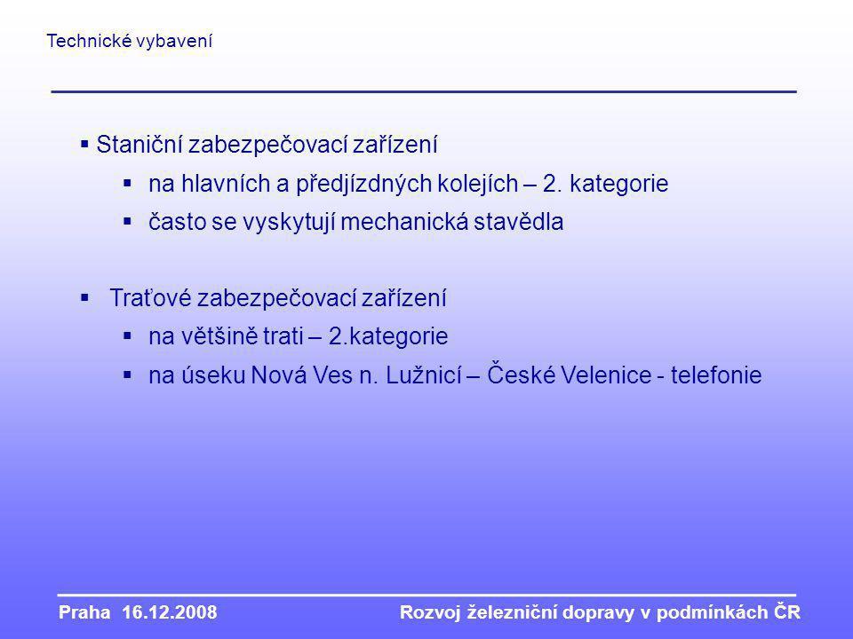 Praha 16.12.2008Rozvoj železniční dopravy v podmínkách ČR Technické vybavení  Staniční zabezpečovací zařízení  na hlavních a předjízdných kolejích – 2.