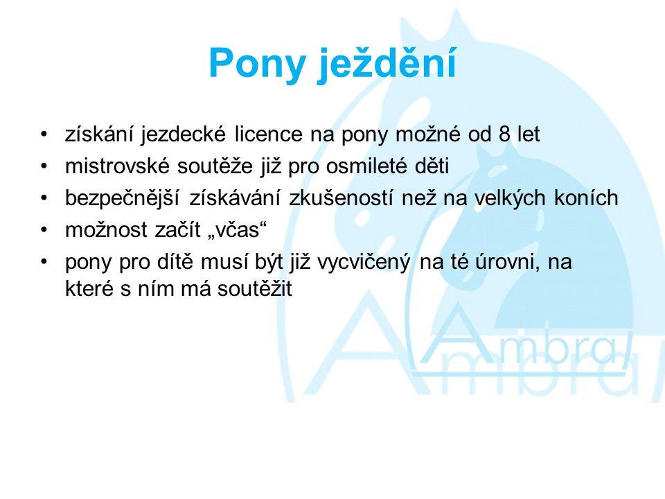 """Pony ježdění •získání jezdecké licence na pony možné od 8 let •mistrovské soutěže již pro osmileté děti •bezpečnější získávání zkušeností než na velkých koních •možnost začít """"včas •pony pro dítě musí být již vycvičený na té úrovni, na které s ním má soutěžit"""