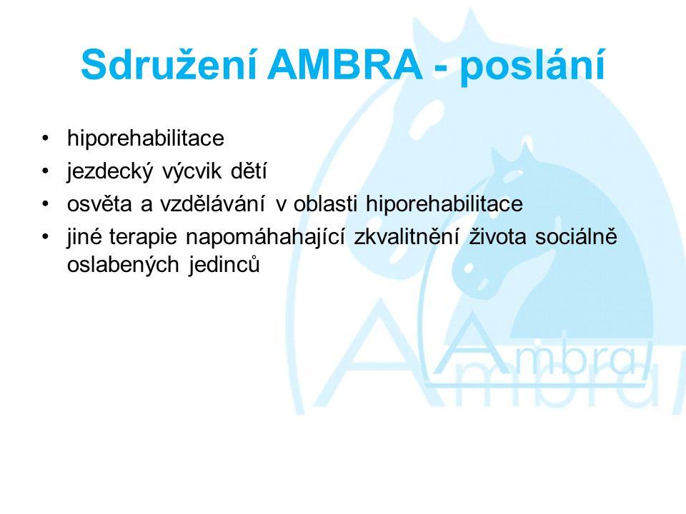 Sdružení AMBRA - poslání •hiporehabilitace •jezdecký výcvik dětí •osvěta a vzdělávání v oblasti hiporehabilitace •jiné terapie napomáhahající zkvalitnění života sociálně oslabených jedinců