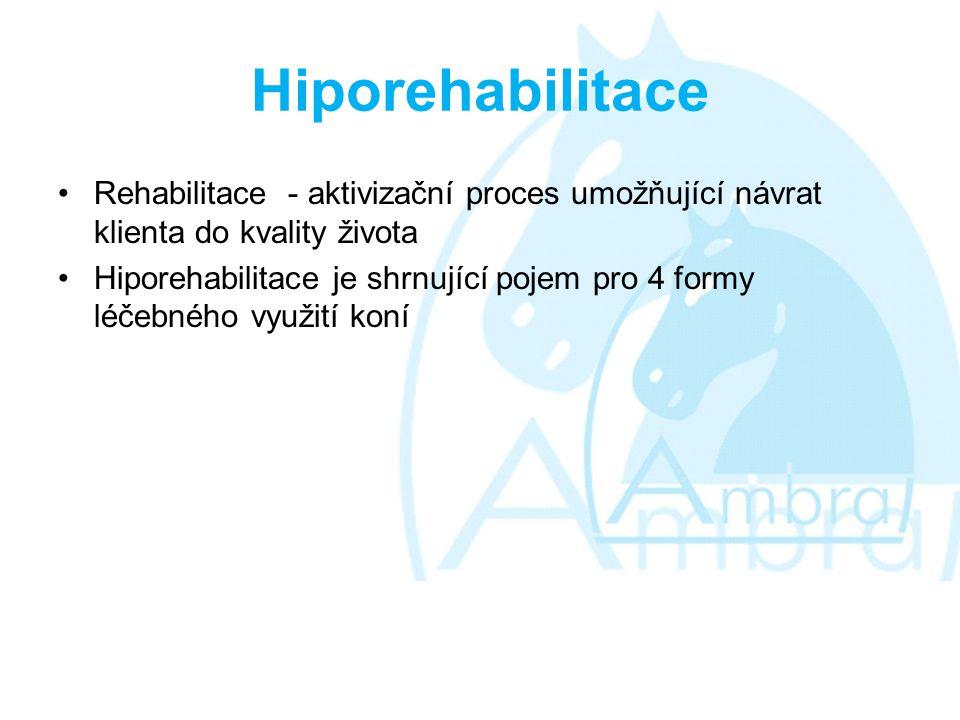 Hiporehabilitace •Rehabilitace - aktivizační proces umožňující návrat klienta do kvality života •Hiporehabilitace je shrnující pojem pro 4 formy léčebného využití koní