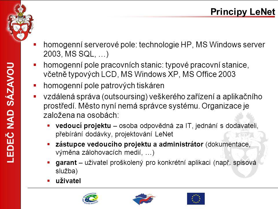 LEDEČ NAD SÁZAVOU Principy LeNet  homogenní serverové pole: technologie HP, MS Windows server 2003, MS SQL, …)  homogenní pole pracovních stanic: ty