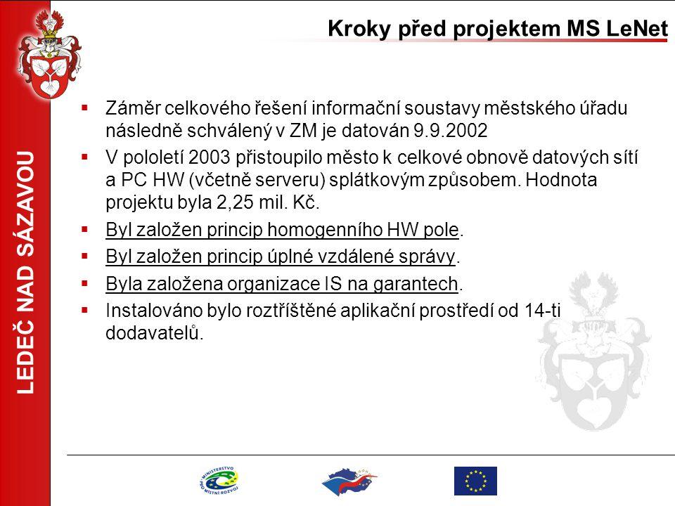 LEDEČ NAD SÁZAVOU Kroky před projektem MS LeNet  Záměr celkového řešení informační soustavy městského úřadu následně schválený v ZM je datován 9.9.20