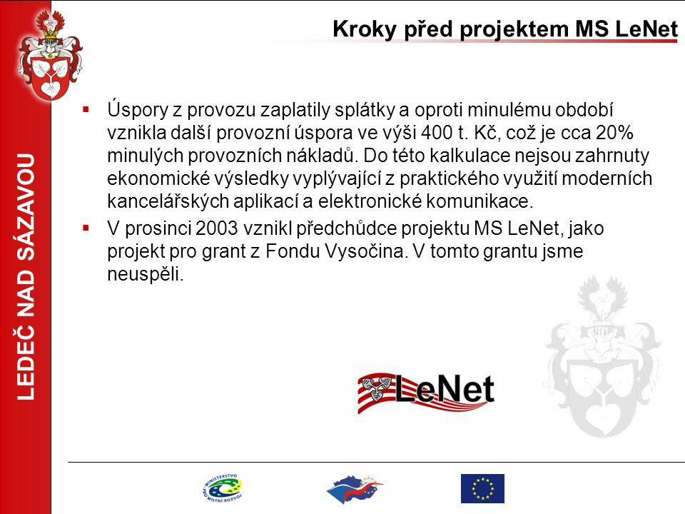 LEDEČ NAD SÁZAVOU Projekt Metropolitní síť LeNet pro SROP  Projekt vznikal v období březen – červen 2004  Byl podán 29.7.2004 v Jihlavě.