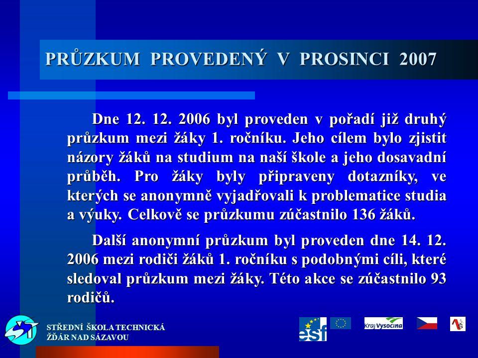 PRŮZKUM PROVEDENÝ V PROSINCI 2007 Dne 12. 12.