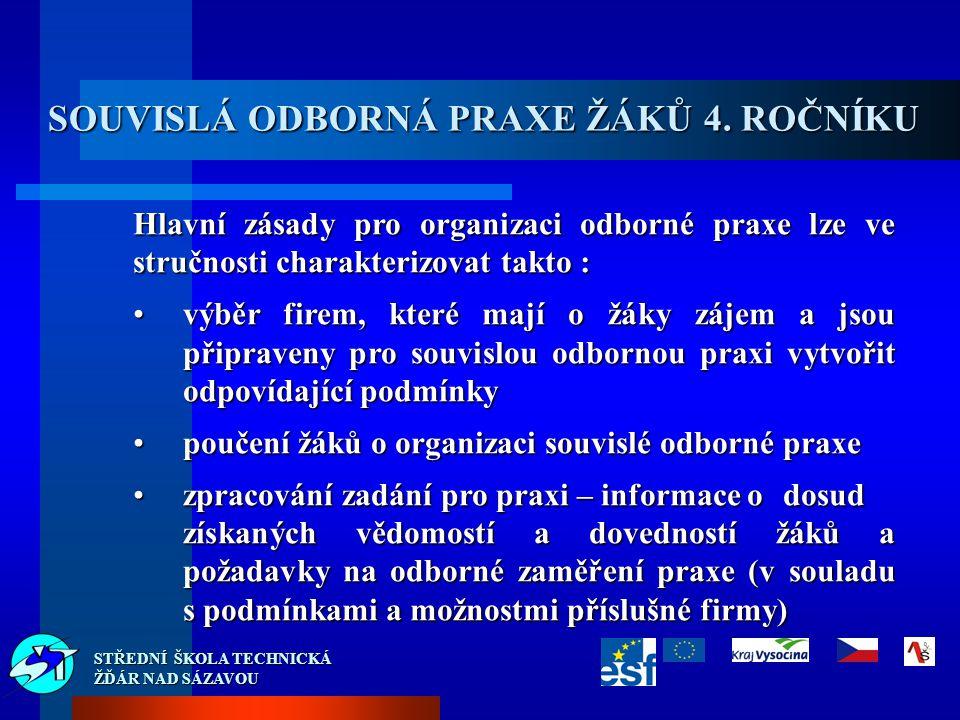 STŘEDNÍ ŠKOLA TECHNICKÁ ŽĎÁR NAD SÁZAVOU SOUVISLÁ ODBORNÁ PRAXE ŽÁKŮ 4.