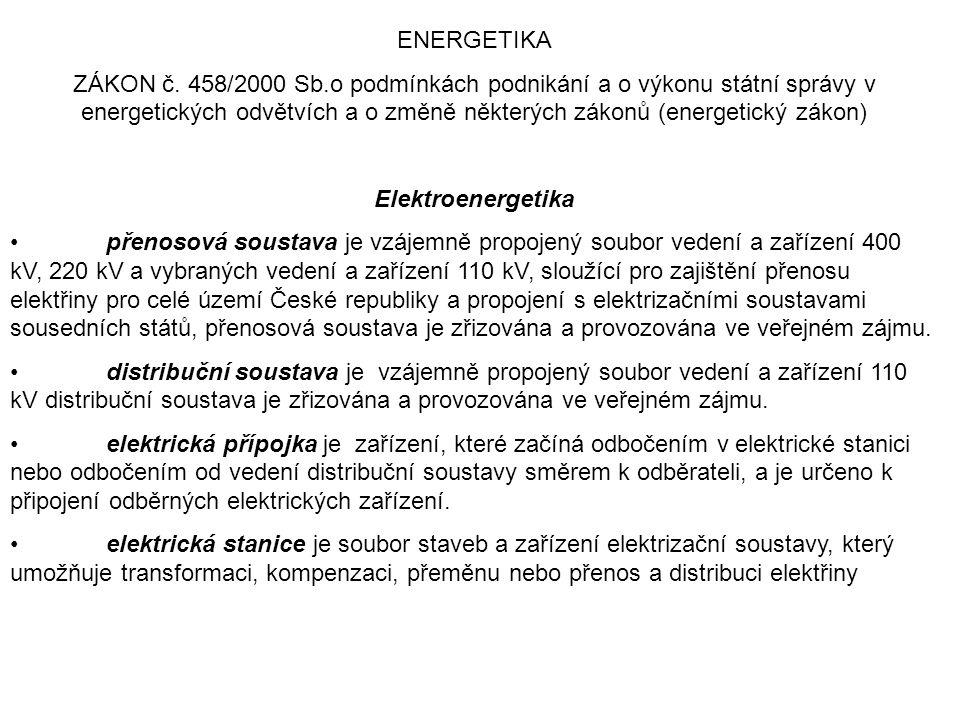 ENERGETIKA ZÁKON č. 458/2000 Sb.o podmínkách podnikání a o výkonu státní správy v energetických odvětvích a o změně některých zákonů (energetický záko