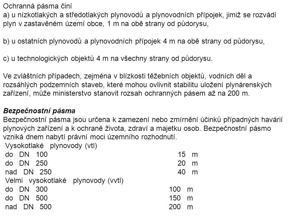 Ochranná pásma plynárenských objektů (výběr) Podzemní zásobníky 250 m Tlakové zásobníky zkapalněných plynů do vnitřního obsahu nad 5 m3 do 20 m3 20 m nad 3 000 m3 300 m Plynojemy do 100 m3 30 m nad 100 m3 50 m Regulační stanice vysokotlaké 10 m Regulační stanice velmi vysokotlaké 20 m Teplárenství Ochranným pásmem se rozumí souvislý prostor v bezprostřední blízkosti zařízení pro výrobu či rozvod tepelné energie, určený k zajištění jeho spolehlivého provozu a ochraně života, zdraví a majetku osob.