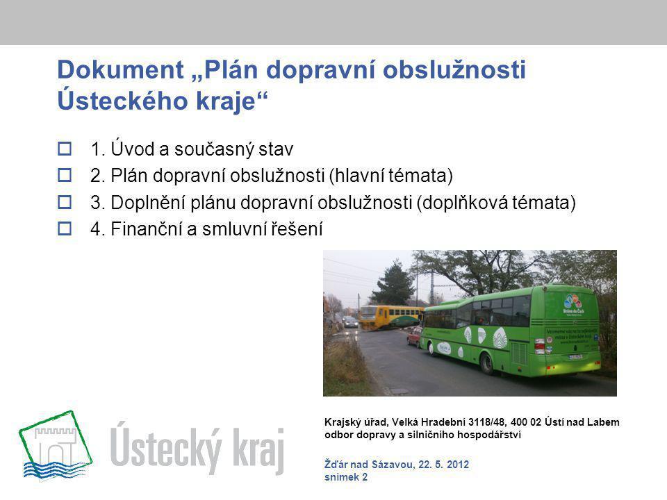 """Dokument """"Plán dopravní obslužnosti Ústeckého kraje  1."""