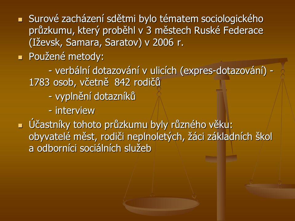  Surové zacházení sdětmi bylo tématem sociologického průzkumu, který proběhl v 3 městech Ruské Federace (Iževsk, Samara, Saratov) v 2006 r.  Použené