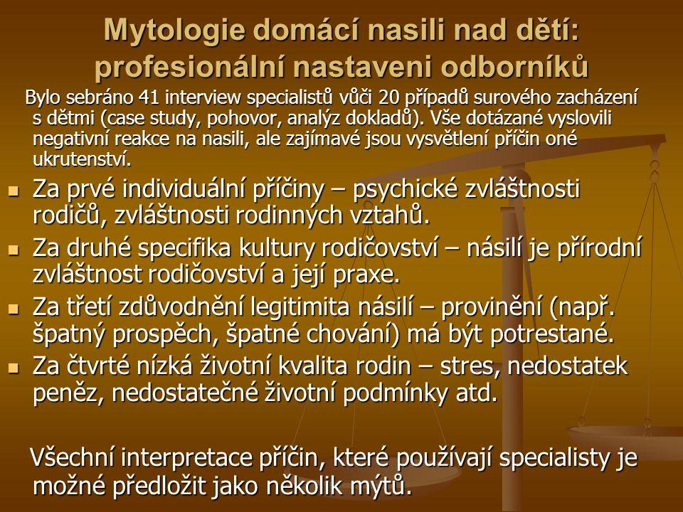Mytologie domácí nasili nad dětí: profesionální nastaveni odborníků Bylo sebráno 41 interview specialistů vůči 20 případů surového zacházení s dětmi (case study, pohovor, analýz dokladů).