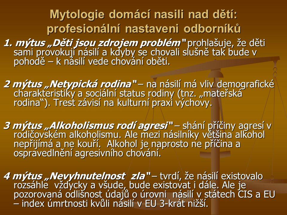 Mytologie domácí nasili nad dětí: profesionální nastaveni odborníků 1.