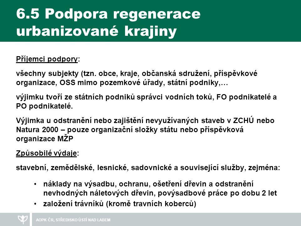6.5 Podpora regenerace urbanizované krajiny Příjemci podpory: všechny subjekty (tzn.