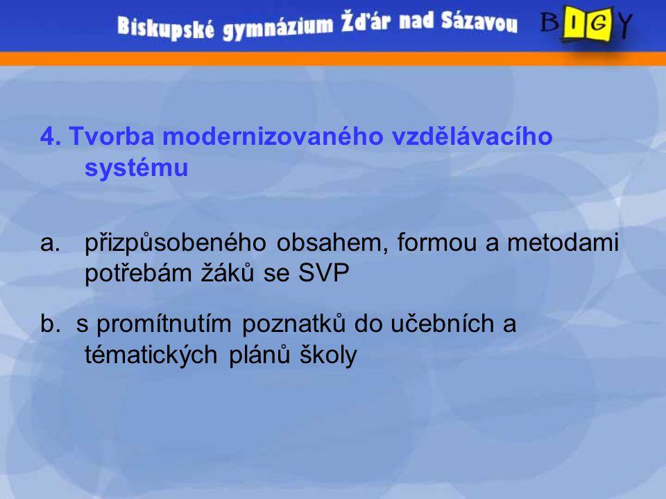 4. Tvorba modernizovaného vzdělávacího systému a.přizpůsobeného obsahem, formou a metodami potřebám žáků se SVP b. s promítnutím poznatků do učebních