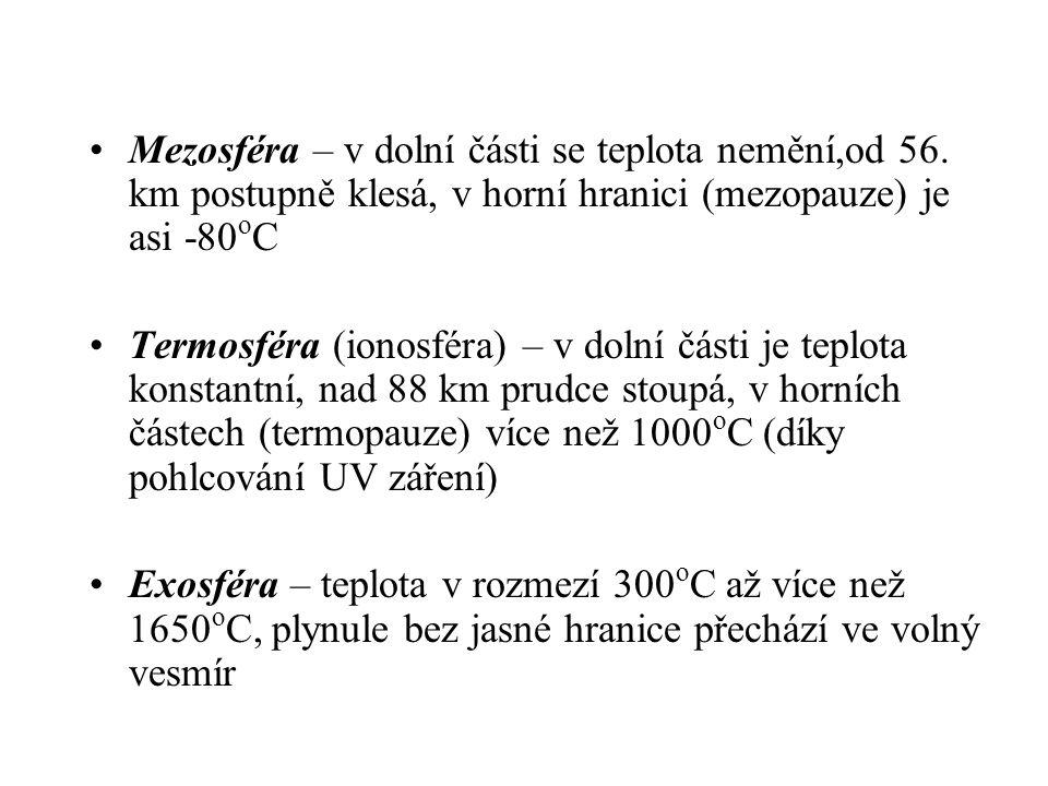 •Mezosféra – v dolní části se teplota nemění,od 56.
