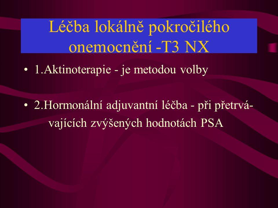 Léčba lokálně pokročilého onemocnění -T3 NX •1.Aktinoterapie - je metodou volby •2.Hormonální adjuvantní léčba - při přetrvá- vajících zvýšených hodnotách PSA