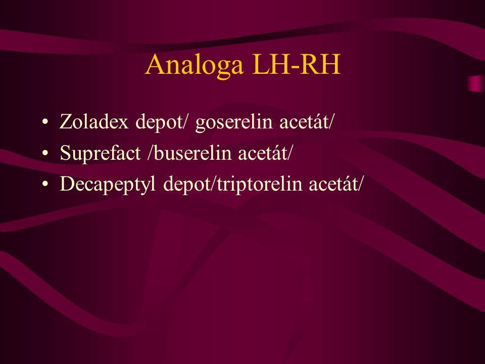 Analoga LH-RH •Zoladex depot/ goserelin acetát/ •Suprefact /buserelin acetát/ •Decapeptyl depot/triptorelin acetát/