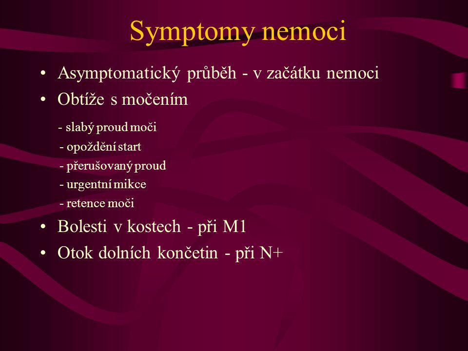 Symptomy nemoci •Asymptomatický průběh - v začátku nemoci •Obtíže s močením - slabý proud moči - opoždění start - přerušovaný proud - urgentní mikce - retence moči •Bolesti v kostech - při M1 •Otok dolních končetin - při N+