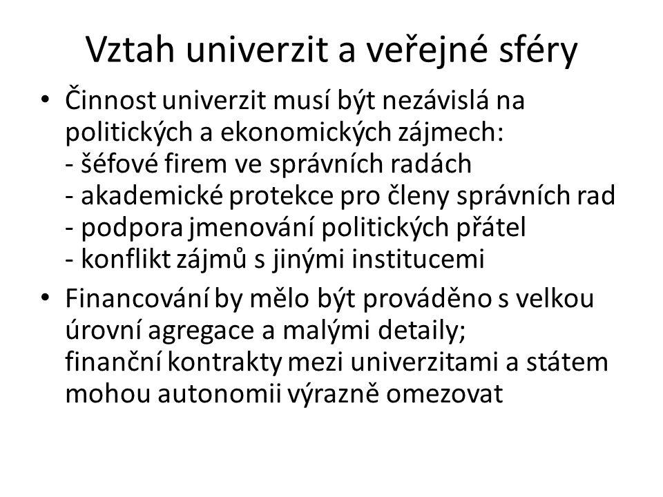 Vztah univerzit a veřejné sféry • Činnost univerzit musí být nezávislá na politických a ekonomických zájmech: - šéfové firem ve správních radách - aka