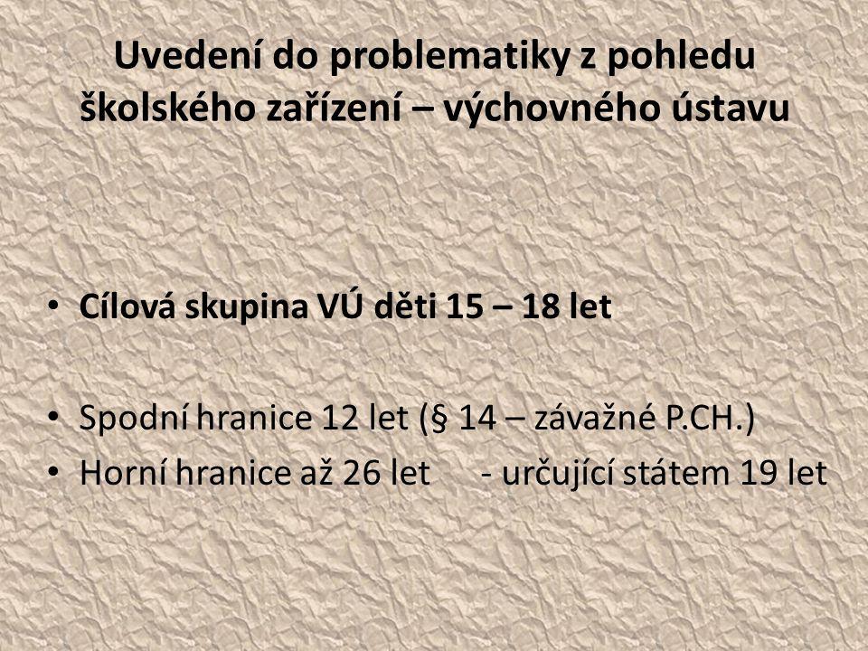 Uvedení do problematiky z pohledu školského zařízení – výchovného ústavu • Cílová skupina VÚ děti 15 – 18 let • Spodní hranice 12 let (§ 14 – závažné