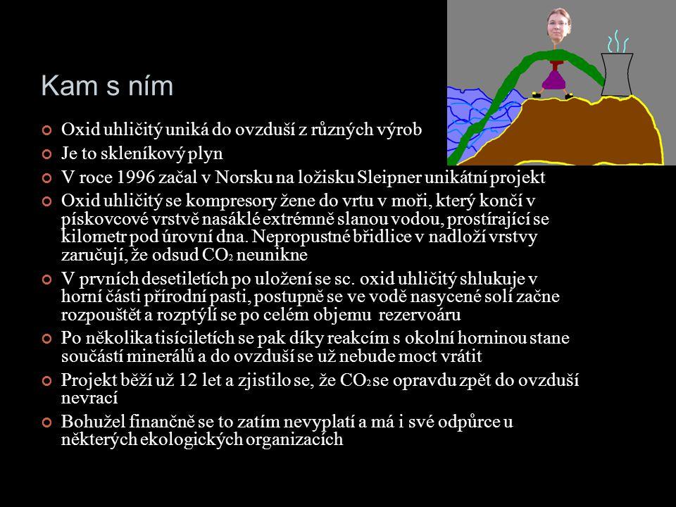Kam s ním Oxid uhličitý uniká do ovzduší z různých výrob Je to skleníkový plyn V roce 1996 začal v Norsku na ložisku Sleipner unikátní projekt Oxid uhličitý se kompresory žene do vrtu v moři, který končí v pískovcové vrstvě nasáklé extrémně slanou vodou, prostírající se kilometr pod úrovní dna.