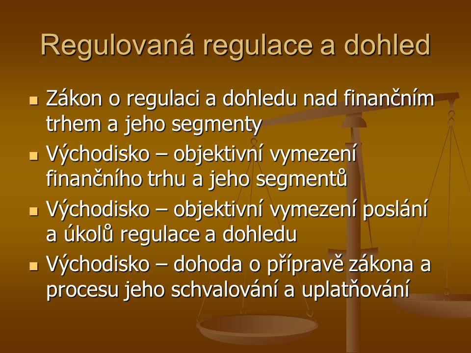 Současné nejaktuálnější požadavky na obsah regulace a dohledu  Regulovat trh jako celek a ne pouze jednotlivé segmenty i když je třeba přihlížet k jejich specifikům  Úroveň integrace trhu se musí promítnout v úrovni integrace jeho regulace a dohledu  Úroveň regulace a dohledu musí odrážet poznanou úroveň rizik, které se reálně vyskytují na trhu (speciální útvary)  Současná nejvážnější rizika jsou spojena s nově vznikajícími investičními nástroji (deriváty, balíčky) a procesy ekonomické integrace (fúze, akvizice)