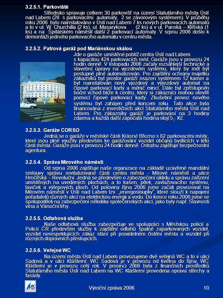 10Výroční zpráva 2006 3.2.5.1. Parkoviště Středisko spravuje celkem 30 parkovišť na území Statutárního města Ústí nad Labem (28 s parkovacími automaty