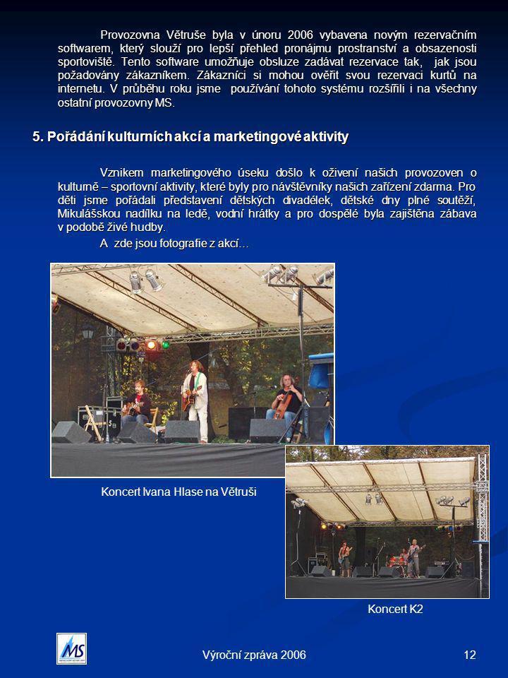 12Výroční zpráva 2006 Provozovna Větruše byla v únoru 2006 vybavena novým rezervačním softwarem, který slouží pro lepší přehled pronájmu prostranství a obsazenosti sportoviště.